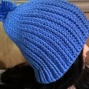 Unisex Textured Blue Beanie